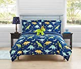 Home Resort Watercolor Dinosaur 4-Piece Comforter Set, Green, Orange, Aqua with a Deep Blue (Twin)