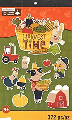 """This is for a fall themed sticker book Style: Give Thanks (Harvest Time; A Fun Fall Farm Life) Contains 372 stickers over 6 sheets measuring 5.75"""" x 9.5"""" (2 sheets each of 3 styles) Images feature fall farm images, including barns with silos, tractor..."""