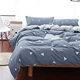 Uozzi Bedding Queen Thin Duvet Cover Set Blue Gray & Triangles 3 Pieces (1 Comforter Cover...