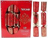 Toyland 10 Crackers de Luxe en Or Rouge et doré