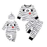 Toddler Baby Boys Girls Plaid Romper Jumpsuit Outfit PJS for Kids Christmas Onesies Matching Outfits Fall Winter Clothes (Mummy Romper, 6-12Months)