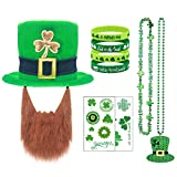 St Patrick's Day Hat 9 PCS Set - Leprechaun Hat with Beard & Shamrock Necklace & Beer Bracelet & Irish Festival Tattoos, Costume Accessories Set for Parade Men and Women Lucky Dress Up