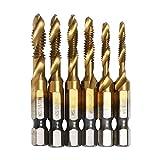 AUTOTOOLHOME 6 Pack Titanium Combination Drill Tap Bit Set Screw Tapping SAE 6-32NC 8-32NC 10-24NC 10-32NC 12-24NC 1/4-20NC