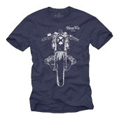 MAKAYA T-Shirt Cafe Racer - Boxer Twin R100 - Camiseta Moto Hombre Custom Motorcycle Azul L