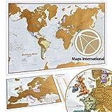 Carte du Monde à gratter + Carte à gratter de l'Europe en BONUS - Maps...