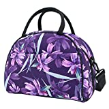 Hibala Neoprene Stylish Tote Lunch Bag Thermal Lunch Box for Women Family Work Outdoor Travel Picnic-Keeping Food Cold/Warm-with Zipper and Shoulder Strap (Purple)