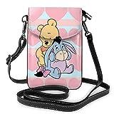 Pequeñas bolsas cruzadas para teléfono celular monedero lindo Winnie impresión con ranuras para tarjetas de crédito