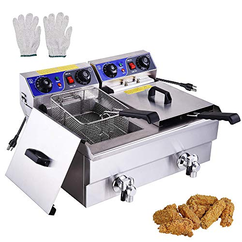 WeChef Commercial Dual Tanks Electric Deep Fryer with Basket Timers Drains Reset Button French Fry Restaurant 23.4L