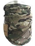 Écharpe tactique camouflage, QMFIVE hommes et femmes unisexe multi-usages bandeau militaire style tête wrap face mesh pour Airsoft, combat, chasse, alpinisme Activité de plein air (Multicam)