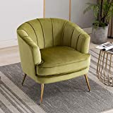 Artechworks Modern Velvet Barrel Chair Accent Armchair with Golden Legs for Living Room Bedroom Home Office, Channel Tufted Back Club Chair, Grass Green