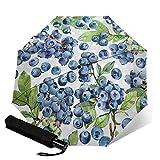 Parapluie de voyage pliable automatique à trois volets Aquarelle Blueberry...