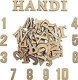 Lettres en Bois et Numéros en Bois (124 pièces) - Ensemble de...