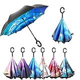 OldPAPA Parapluie Inversé, Parapluie Canne,Double Couche Coupe-Vent, Mains Libres poignée en Forme C, Idéal pour Voiture et Voyage pour 2 Personnes,Multicolore