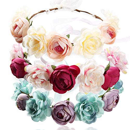 REKYO 3pcs Flor Hecha a Mano Diadema Corona Floral, Novia Corona Boda Halo Guirnalda Floral Bandas Para La Cabeza Casco Con Cinta Para Apoyos De La Foto De Fiesta De Boda