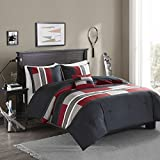 Comfort Spaces Pierre Comforter Set All Season Ultra Soft Hypoallergenic Microfiber Pipeline Boys Dormitory Bedding, Queen, Stripe Black/Red