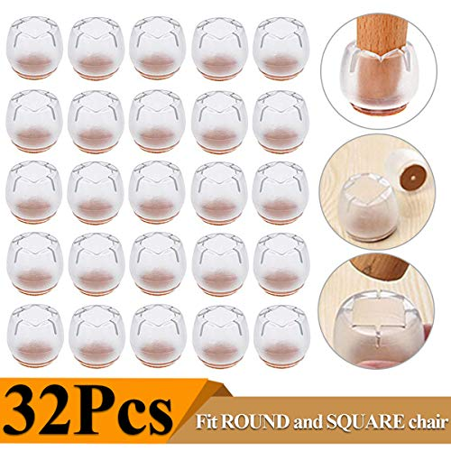 Chair Leg Caps Silicone Floor Protector Furniture Table Feet Covers, 32 Pack