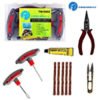UNIVERSAL TUBELESS TIRE REPAIR KIT: Tirewell Universal Tubeless Tyre Repair Kit is a compact and convenient 6 in 1 set that has everything you need to repair tubeless tires on your own. With T handle Grips and Repair String Plugs, you can easily fix ...