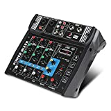 PA4 4Channels Audio Mixer Sound Mixing Console with Bluetooth USB Record 48V Phantom Power Monitor Paths Built-in Power Amplifier 2x100W Use for home music production, webcast, K song