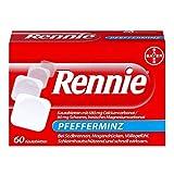 Rennie Pfefferminz lindern Sodbrennen und säurebedingte Magenbeschwerden, 60 Kautabletten