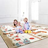 Baby Play Mat, Folding Playmat Waterproof Reversible Baby Crawling Mat Large Foam NonToxic Kids Play Mat Anti-Slip Portable Tummy Time Playroom Foldable Playmats for Infant, Toddler - 61x78x0.4IN