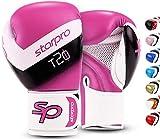 Starpro T20 Guantes de Boxeo de Cuero de PU para Entrenamiento y Sparring en Muay Thai Kickboxing Fitness - Hombres y Mujeres - Múltiples Colores - 8oz 10 oz 12 oz 14 oz 16 oz (Rosa Choque, 8oz)