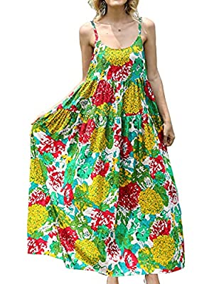 Tiered Maxi Dress; Sexy Home Wear; Cotton Sleep Wear; Bohemian Floral Dress; Summer Beach Dress; Adjustable Spaghetti Slip; Empire Waist Bohemian Floral Printed; Soft Skin Fabric; Perfect for any season- with tops inside or with cardigans outside; Oc...