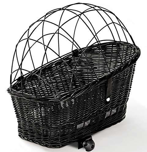 Tigana - Hundefahrradkorb für Gepäckträger aus Weide 56 x 36 cm mit Metallgitter Kissen Tierkorb Hundekorb für Fahrrad SCHWARZ (S-S)