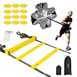 XGEAR Speed Agility Training Set - Indoor Outdoor TPE Adjustable Rungs Agility Ladder, Resistance...