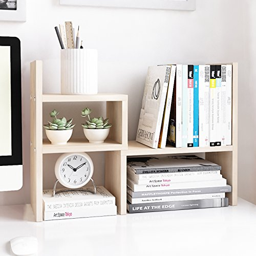 Jerry & Maggie - Desktop Organizer Office Storage Rack Adjustable Wood...