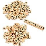 Lettres en Bois pour scrabble Jeu Plateau 201PCS Lettres de Alphabet en Bois...