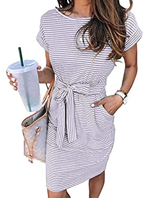 Size Guide: S=US 4-6, M=US 8-10, L=US 12-14, XL=16. Lightweight and soft fabric, we accept 30 days money back! Unique Design: sheath dress with two side pockets, crew neck, about knee length, slim fit self tie belted waist, classic stripes, soft and ...