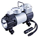 TIREWELL 12V Tire Inflator - Heavy Duty Direct Drive Metal Pump 150PSI, Portable Air Compressor with LED Light and Battery Clamp