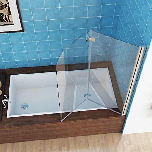 MIQU 100 x 140 cm Badewannen 2 TLG. Faltwand Aufsatz Duschwand Duschabtrennung Nano Glas