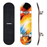 ENKEEO 32' Skateboards Complete 9 Ply Maple Wood Double Kick Concave Skateboard, ABEC-9 Tricks Stake Board for Beginners and Pro