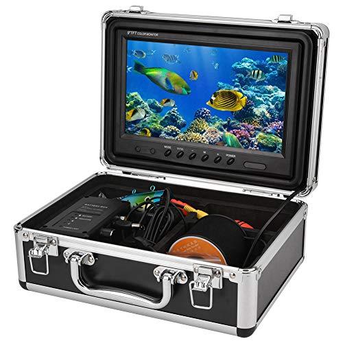 Fishfinder portatile 9 pollici Telecamera subacquea per pesca subacquea con drone subacqueo con HD 1000TVL, telecamera per pesca con 12 luci bianche ad alta potenza e cavo da 30 metri(Spina UE)