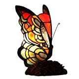 Bieye L10525 Butterfly Tiffany Style Stained Glass Accent Table Lamp Night Light with 7 Inch Wide Handmade Lampshade for Bedside Bedroom Living Room, 9-inch Tall