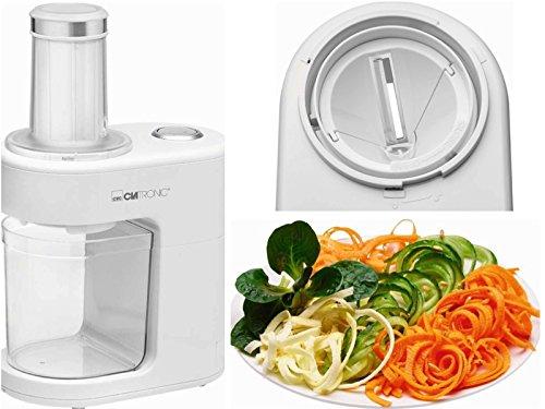 Elektrischer Multi Zerkleinerer Edelstahl Messer Mixer Zerhacker Spiralschneider (Gemüse Schneider, Zwiebel Häcksler, Große Öffnung, Weiß)