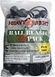 25 Pack Ball Bungee 9 inch Black | HeavyWeight 9'' Tarp Bungee Cords | Weather Resistant Tie Down Strap and 5mm Thickness | For tents, cargo, holding wire and hose