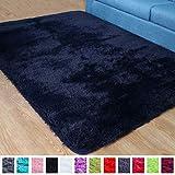 PAGISOFE Super Soft Fluffy Velvet Fabric Indoor Room Area Rugs Carpets for Living Room Bedroom Kids Nursery Decor Dining Floor Non Slip Shag Rectangle Rug 4x5.3 Feet (Navy Blue)