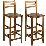 HOMCOM 30' Tall Classic Bar stools Acacia Wood Slat Back Pub Chair-Set of 2