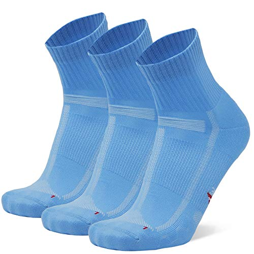 DANISH ENDURANCE Running Socks for Long Distances 3 Pack, for Men & Women, Anti-Blister, Arch (Light Blue, UK 9-12 // EU 43-47)