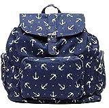 Bershka BSK Enjoy Your Bag - Mochila para mujer (lona, algodón, 30 x 34 x 18 cm), color azul marino y blanco