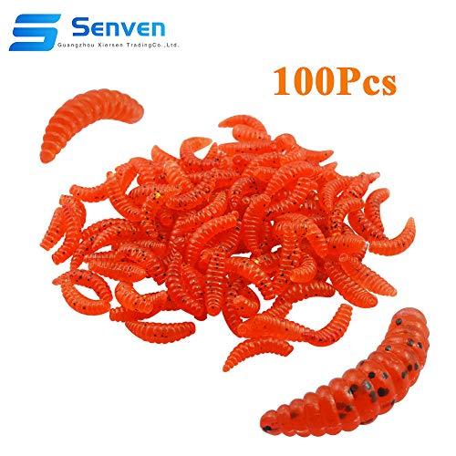 Senven verme artificiale, Biomimetic Morbido Silicone Earthworm Esche Worm Esche da Pesca Simulazione Red Worms plastica Verde Ambiente Strong Tentazione Esca Finta Red Worm - rosso 100Pcs