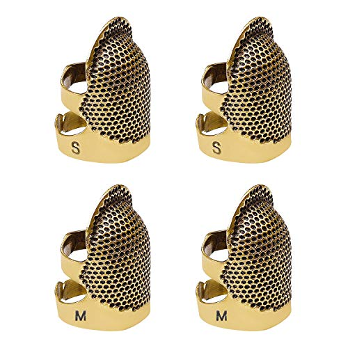 4 Pack Sewing Thimble Finger Protector, Adjustable Finger Metal Shield Protector Pin Needles Sewing Quilting Craft Accessories DIY Sewing Tools Needlework(2 Sizes)