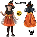 Halloween Witch Costume Girls Baby Kids Children Dress Party Dresses and Hat Cool Creative Baby Orange