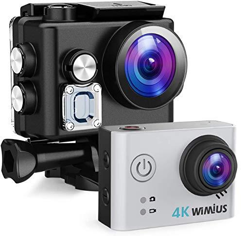 WiMiUS Action Cam 4K 20MP WiFi HD Impermeabile Fotocamera 40M Videocamera Sportiva 170 Gradi Grandangolare con 2 Batterie Ricaricabili e Kit Accessori per Casco(Borsa da Trasporto) ——Argento