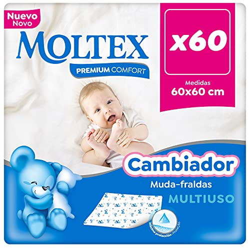 Moltex Premium Comfort Cambiador Desechable para bebé (60x60 cm) - 60 Cambiadores, White
