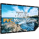 Projector Screen 120 inch, PVC Black Backing 1.3 Gain 176°Viewing Outdoor Projector Screen Support 3D 4K 16:9 HD Image, Portable Front Projection Screen for Backyard Movie Night Home Theater
