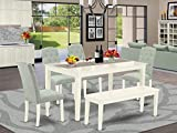 East West Furniture CACE6-LWH-15 6Pc Dining Set Includes a Rectangle Dinette Table and Four Parson Chairs with Baby Blue Fabric and a Bench, Linen White Finish