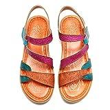 Gracosy Sandales Cuir Femmes, Pieds Larges - Orange/Violet/Bleu - 37 EU